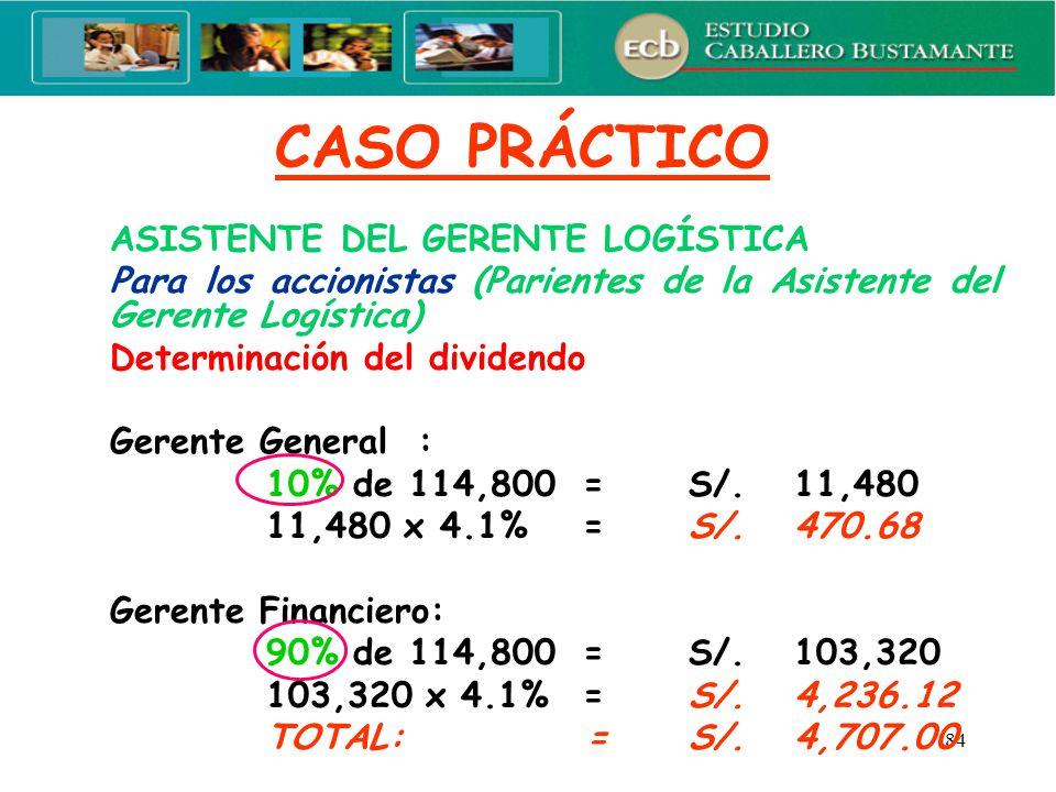 CASO PRÁCTICO ASISTENTE DEL GERENTE LOGÍSTICA. Para los accionistas (Parientes de la Asistente del Gerente Logística)