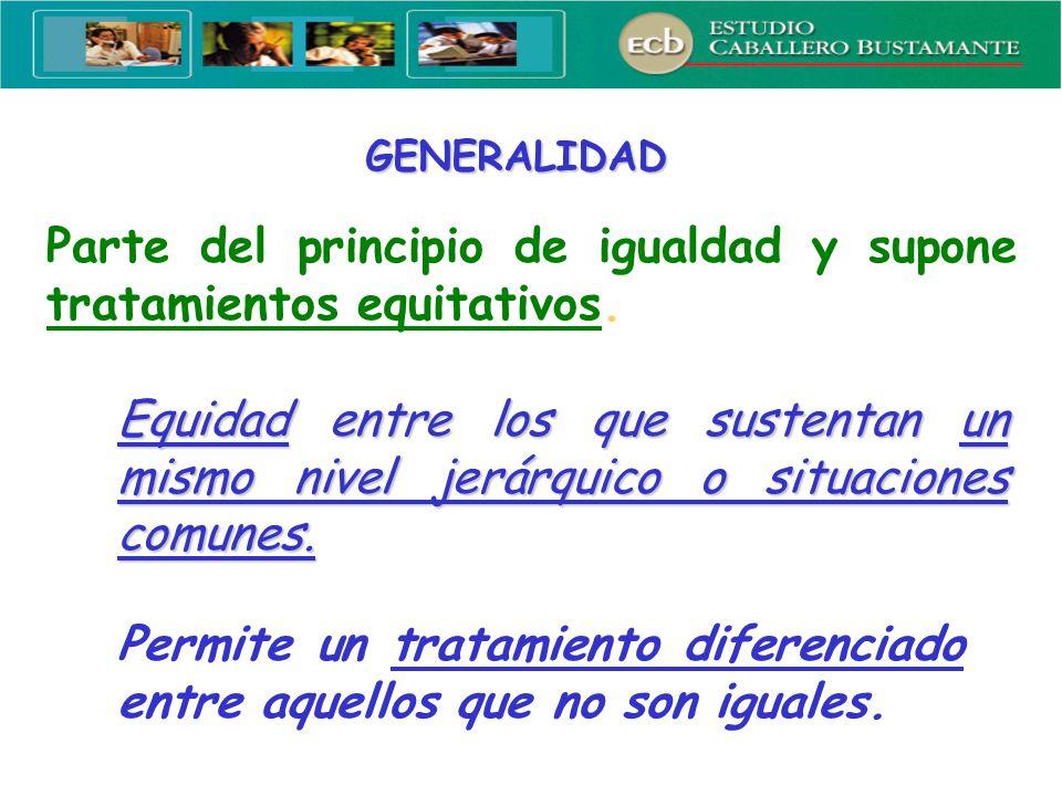Parte del principio de igualdad y supone tratamientos equitativos.