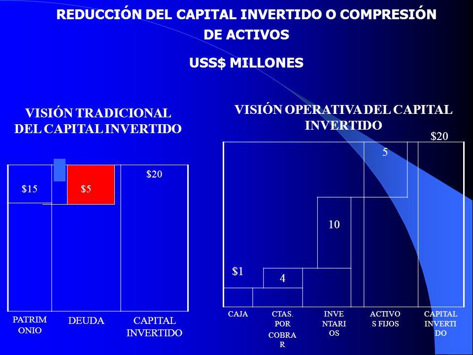 REDUCCIÓN DEL CAPITAL INVERTIDO O COMPRESIÓN DE ACTIVOS USS$ MILLONES