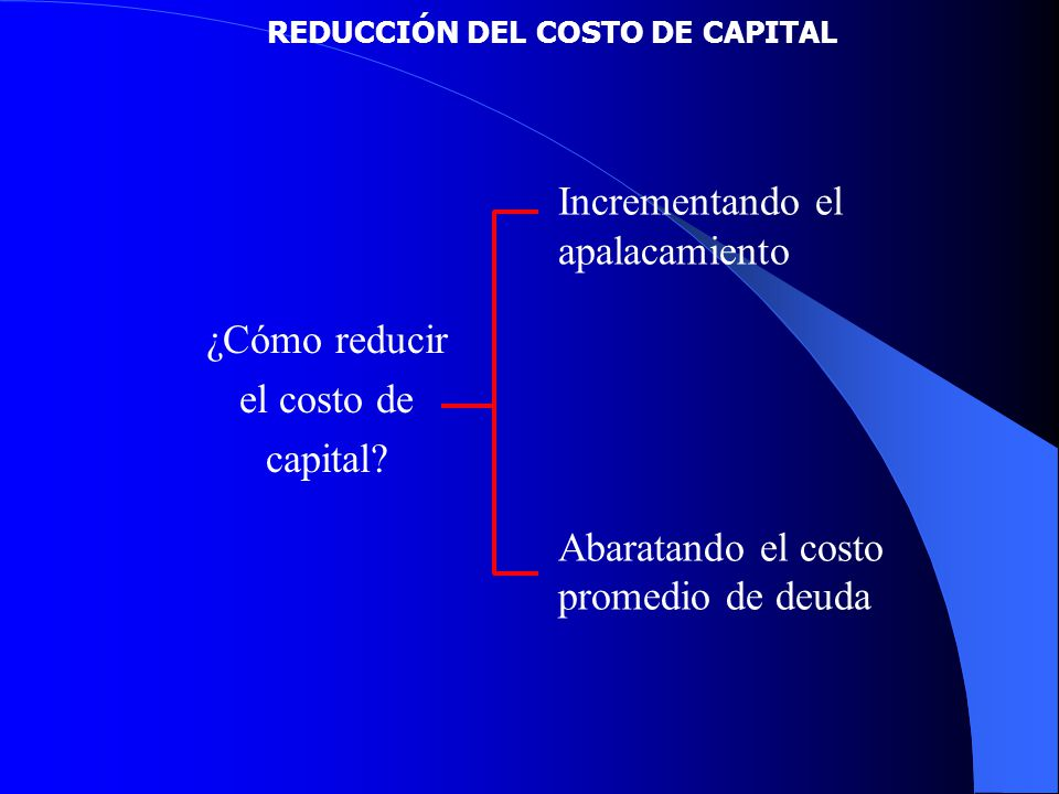 REDUCCIÓN DEL COSTO DE CAPITAL