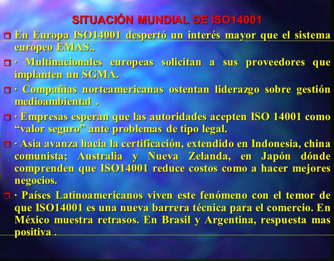 SITUACIÓN MUNDIAL DE ISO14001