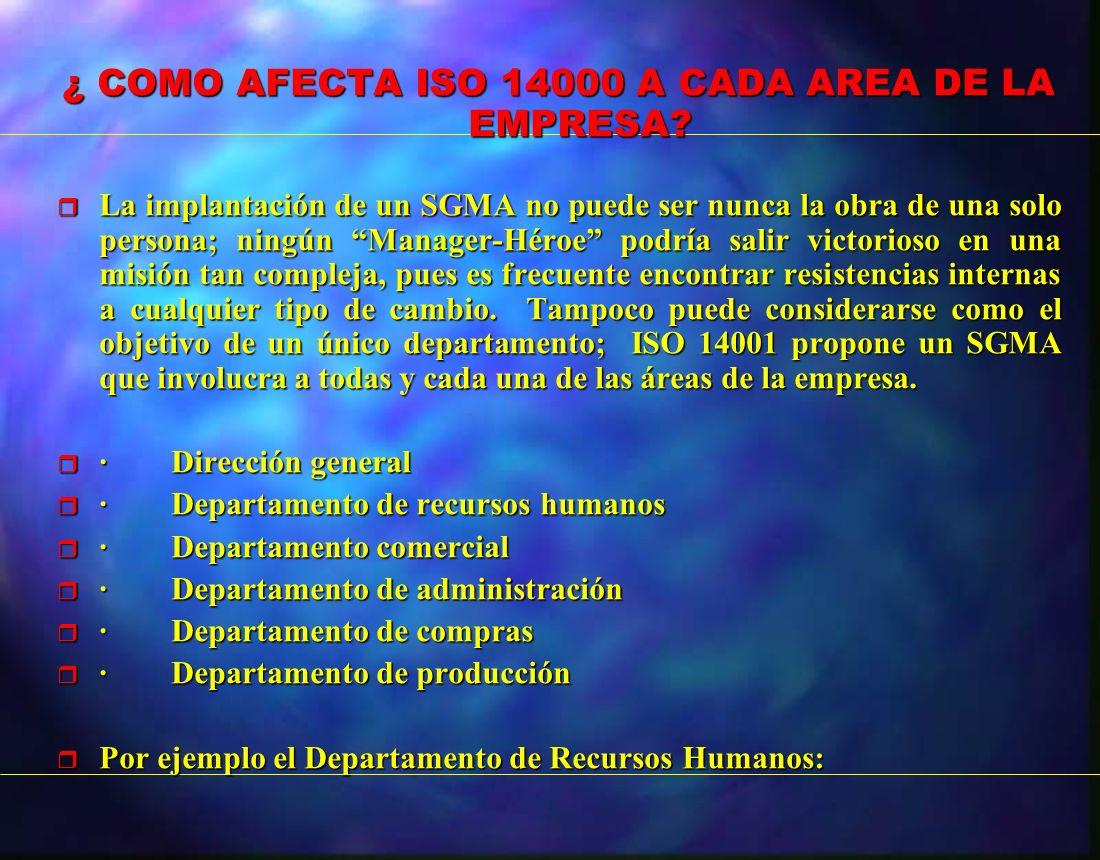¿ COMO AFECTA ISO 14000 A CADA AREA DE LA EMPRESA