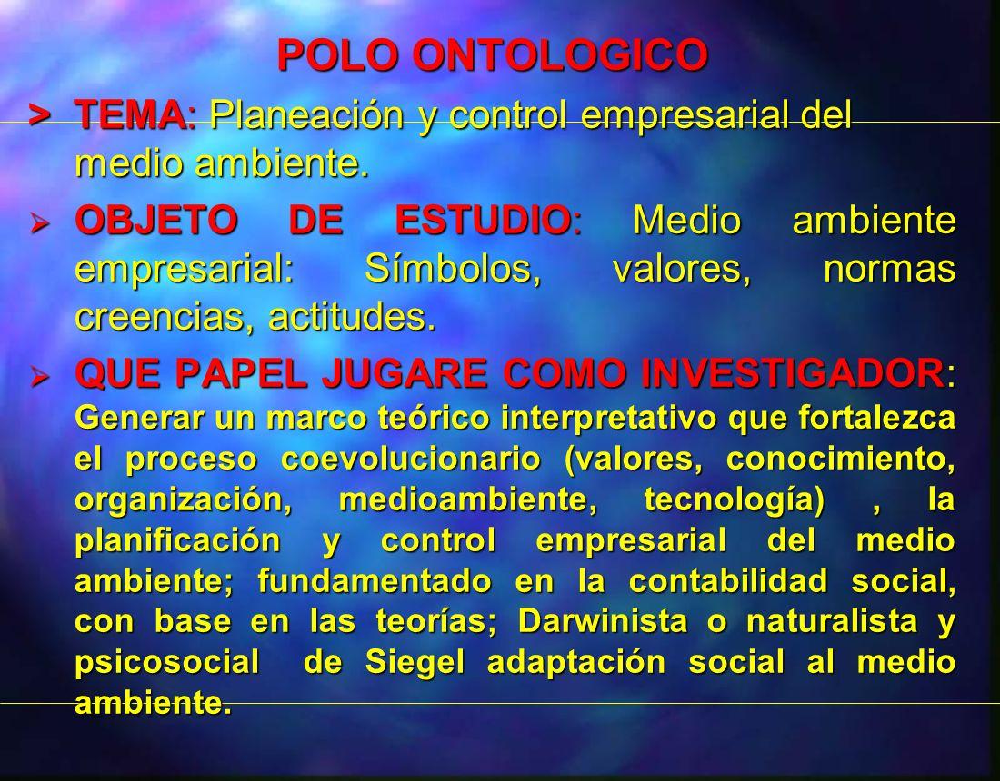 POLO ONTOLOGICO> TEMA: Planeación y control empresarial del medio ambiente.