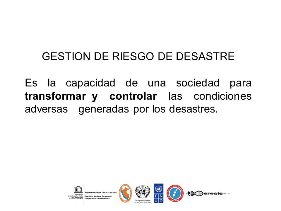 GESTION DE RIESGO DE DESASTRE