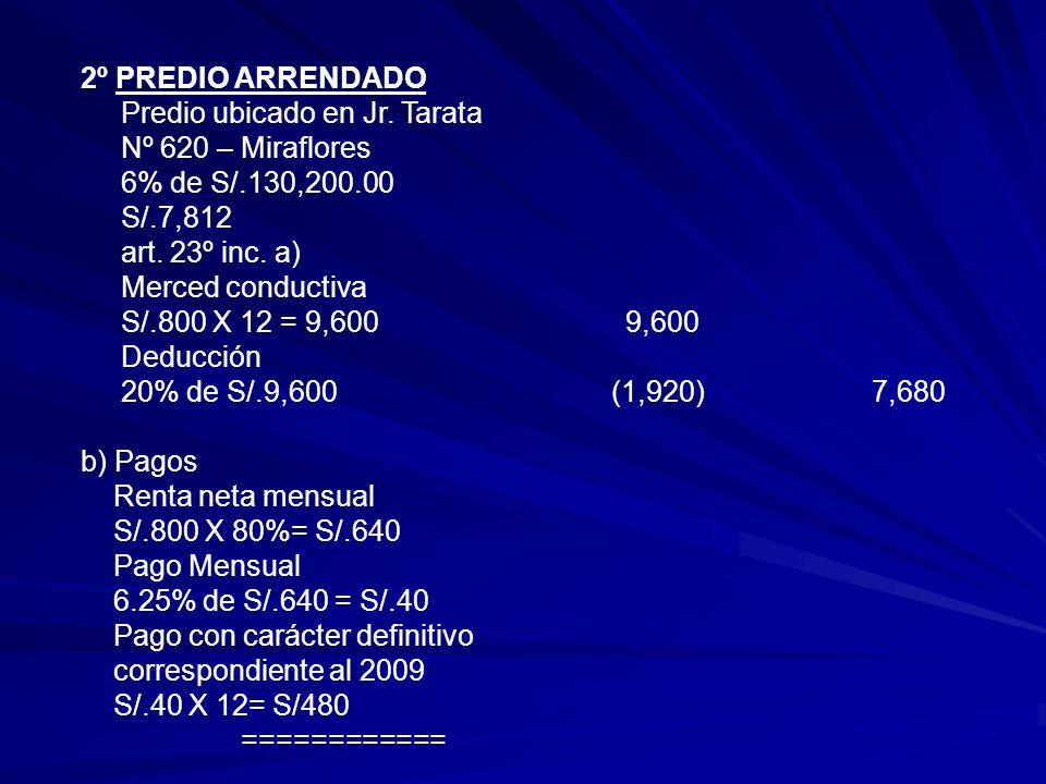2º PREDIO ARRENDADO Predio ubicado en Jr. Tarata. Nº 620 – Miraflores. 6% de S/.130,200.00. S/.7,812.