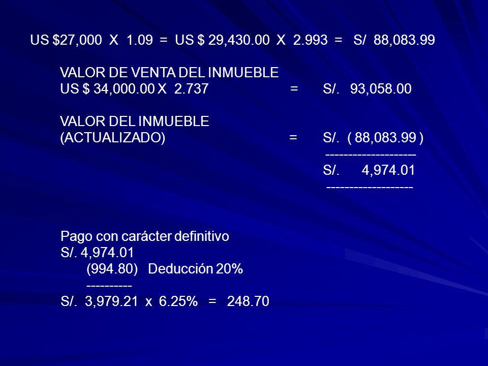 US $27,000 X 1.09 = US $ 29,430.00 X 2.993 = S/ 88,083.99 VALOR DE VENTA DEL INMUEBLE.
