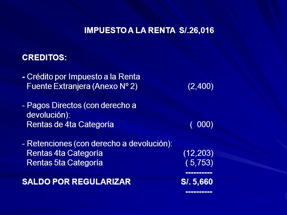 IMPUESTO A LA RENTA S/.26,016 CREDITOS: - Crédito por Impuesto a la Renta. Fuente Extranjera (Anexo Nº 2) (2,400)
