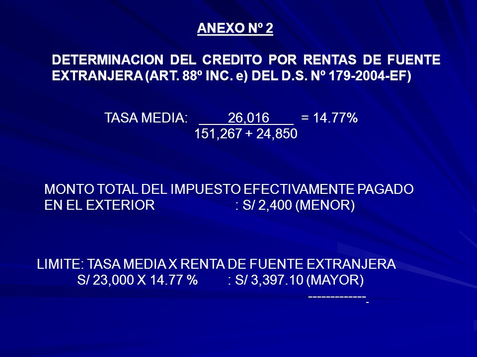 ANEXO Nº 2 DETERMINACION DEL CREDITO POR RENTAS DE FUENTE EXTRANJERA (ART. 88º INC. e) DEL D.S. Nº 179-2004-EF)
