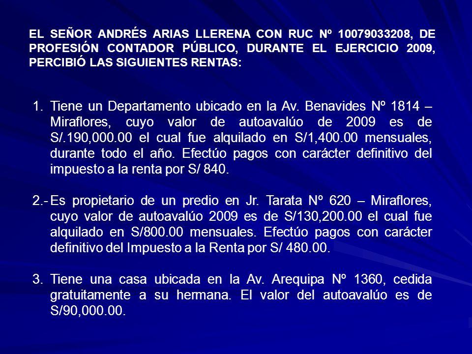 EL SEÑOR ANDRÉS ARIAS LLERENA CON RUC Nº 10079033208, DE PROFESIÓN CONTADOR PÚBLICO, DURANTE EL EJERCICIO 2009, PERCIBIÓ LAS SIGUIENTES RENTAS: