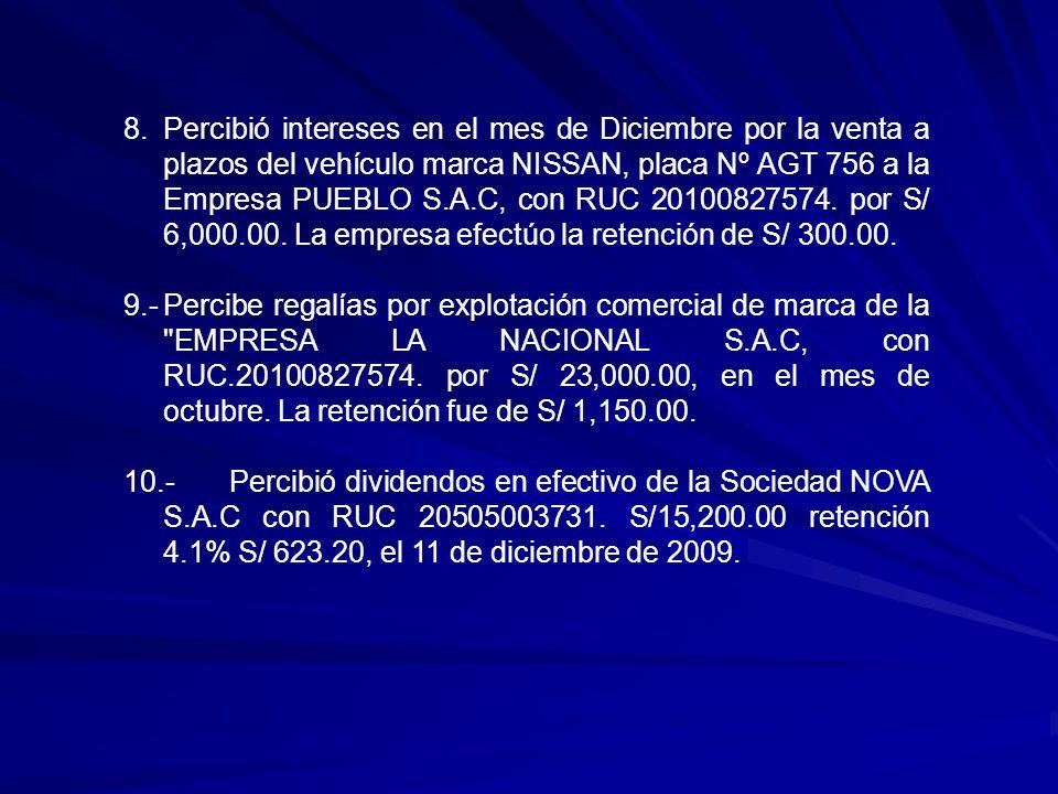 Percibió intereses en el mes de Diciembre por la venta a plazos del vehículo marca NISSAN, placa Nº AGT 756 a la Empresa PUEBLO S.A.C, con RUC 20100827574. por S/ 6,000.00. La empresa efectúo la retención de S/ 300.00.