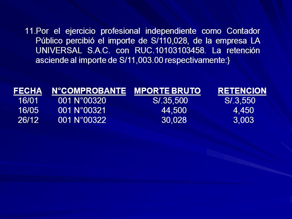 Por el ejercicio profesional independiente como Contador Público percibió el importe de S/110,028, de la empresa LA UNIVERSAL S.A.C. con RUC.10103103458. La retención asciende al importe de S/11,003.00 respectivamente:}