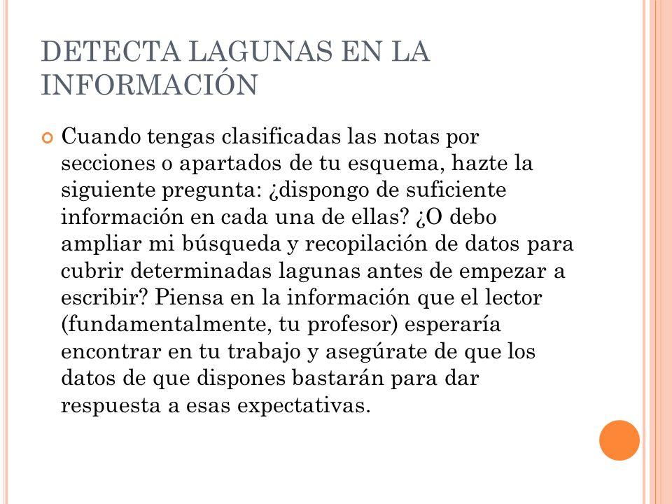 DETECTA LAGUNAS EN LA INFORMACIÓN