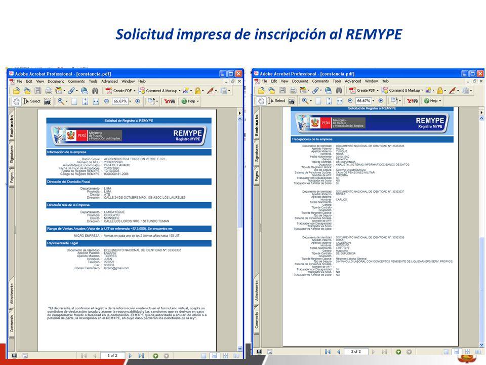 Solicitud impresa de inscripción al REMYPE