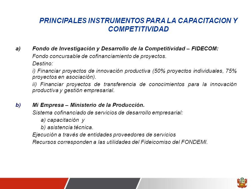 PRINCIPALES INSTRUMENTOS PARA LA CAPACITACION Y COMPETITIVIDAD