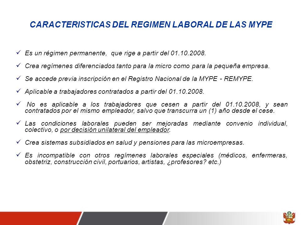 CARACTERISTICAS DEL REGIMEN LABORAL DE LAS MYPE
