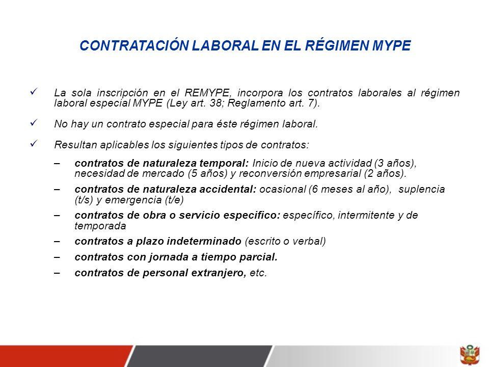 CONTRATACIÓN LABORAL EN EL RÉGIMEN MYPE