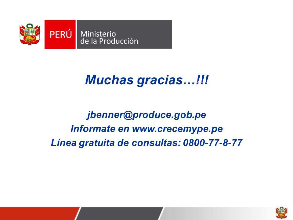 Muchas gracias…!!! jbenner@produce.gob.pe