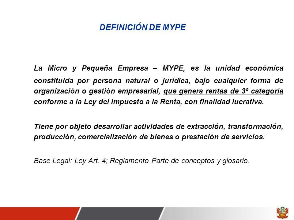 DEFINICIÓN DE MYPE