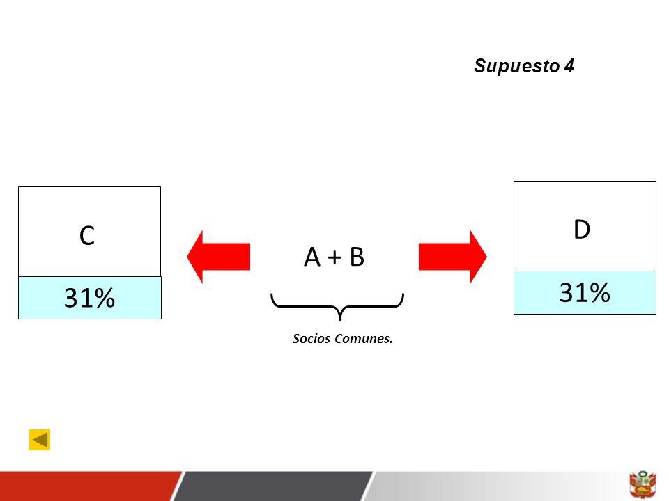Supuesto 4 D C A + B 31% 31% Socios Comunes.