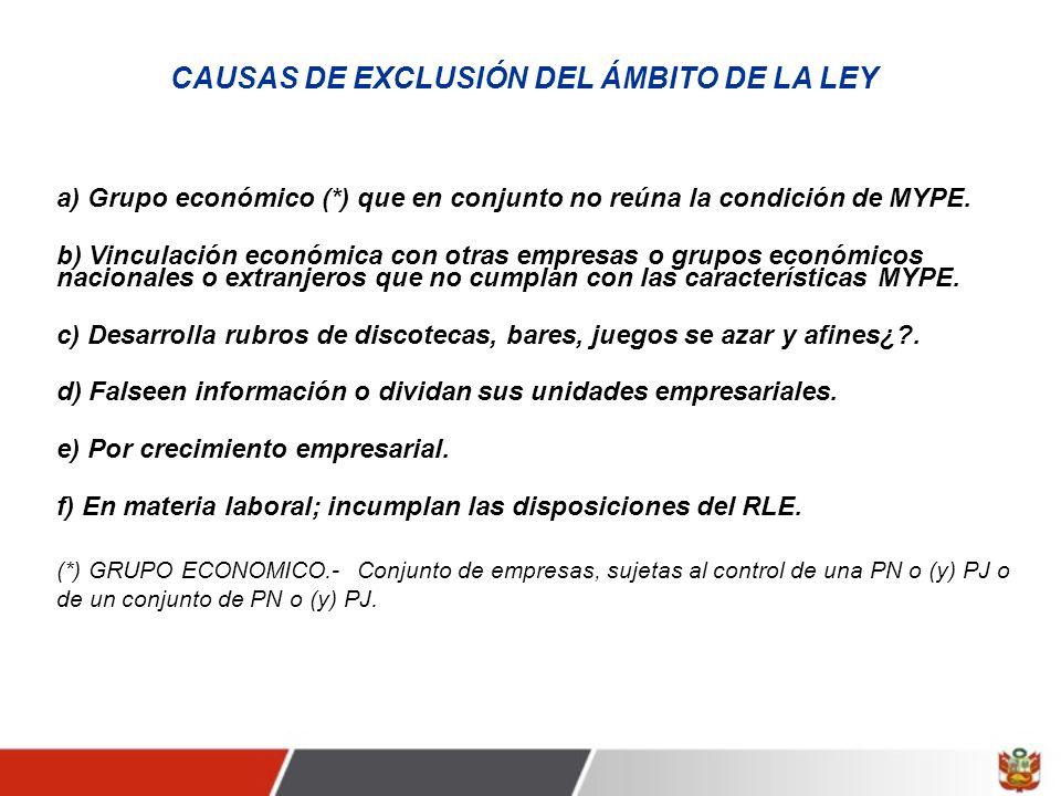CAUSAS DE EXCLUSIÓN DEL ÁMBITO DE LA LEY