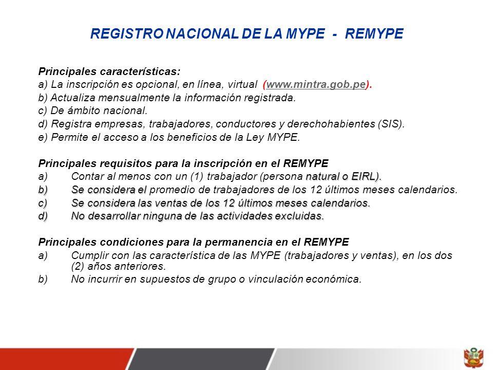 REGISTRO NACIONAL DE LA MYPE - REMYPE