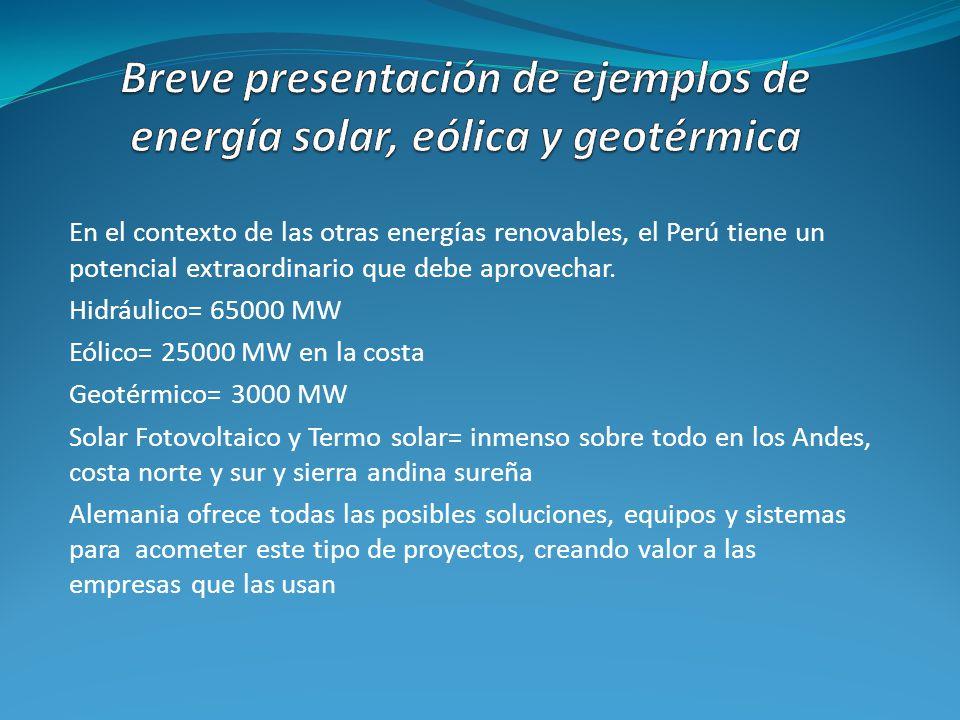 Breve presentación de ejemplos de energía solar, eólica y geotérmica