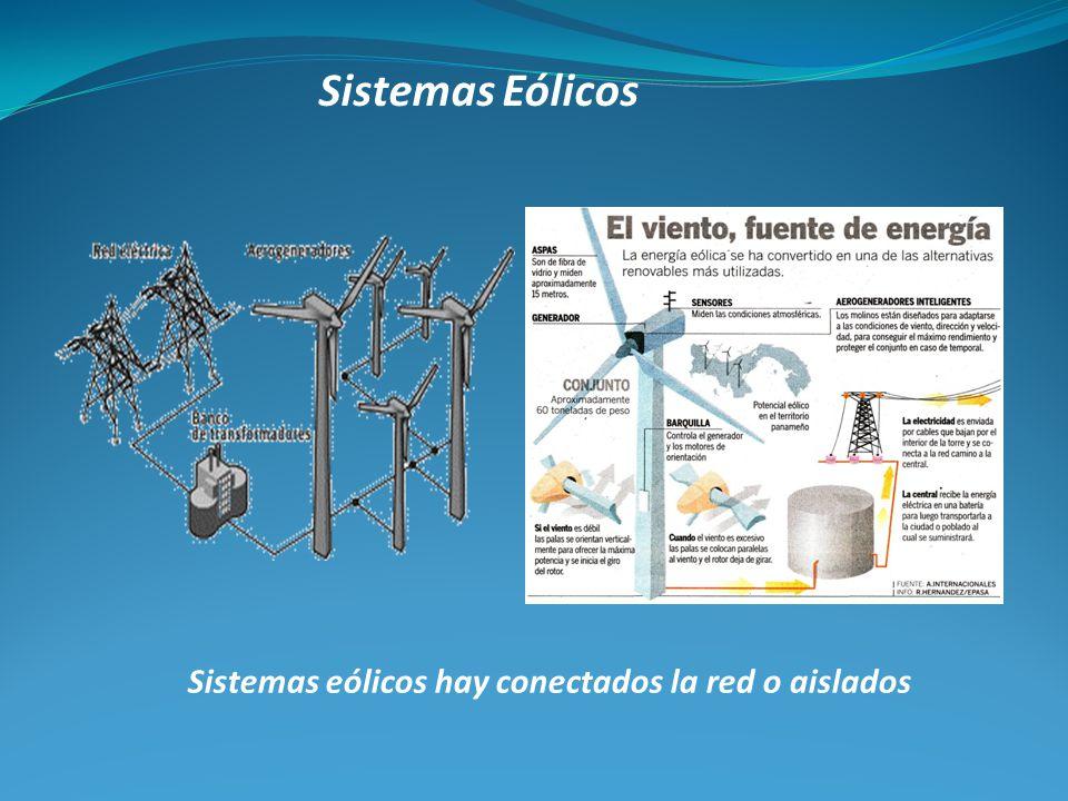 Sistemas eólicos hay conectados la red o aislados