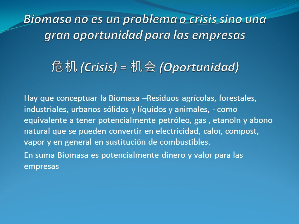 Biomasa no es un problema o crisis sino una gran oportunidad para las empresas 危机 (Crisis) = 机会 (Oportunidad)