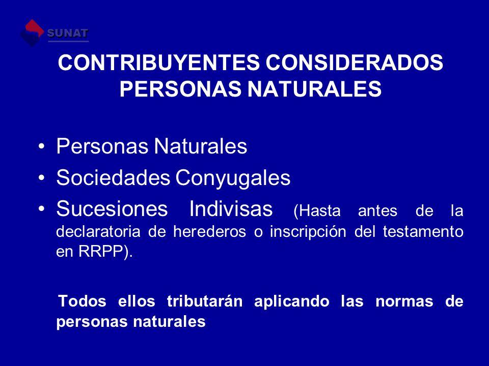 CONTRIBUYENTES CONSIDERADOS PERSONAS NATURALES