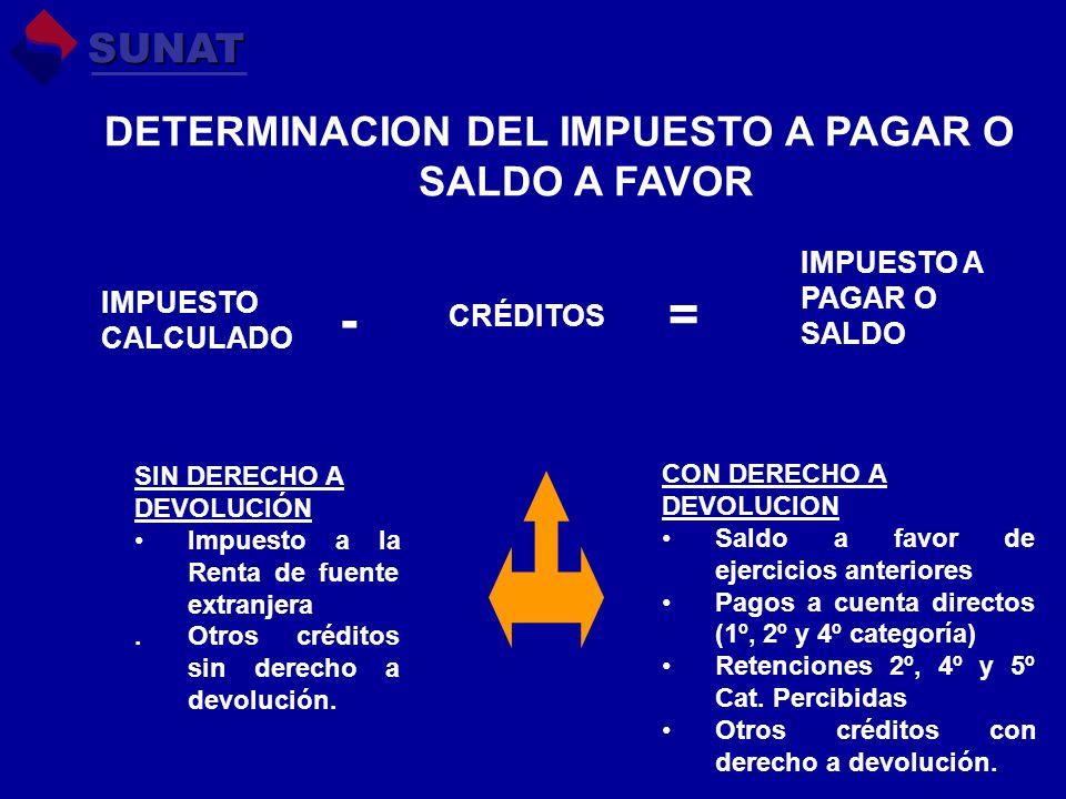 DETERMINACION DEL IMPUESTO A PAGAR O SALDO A FAVOR