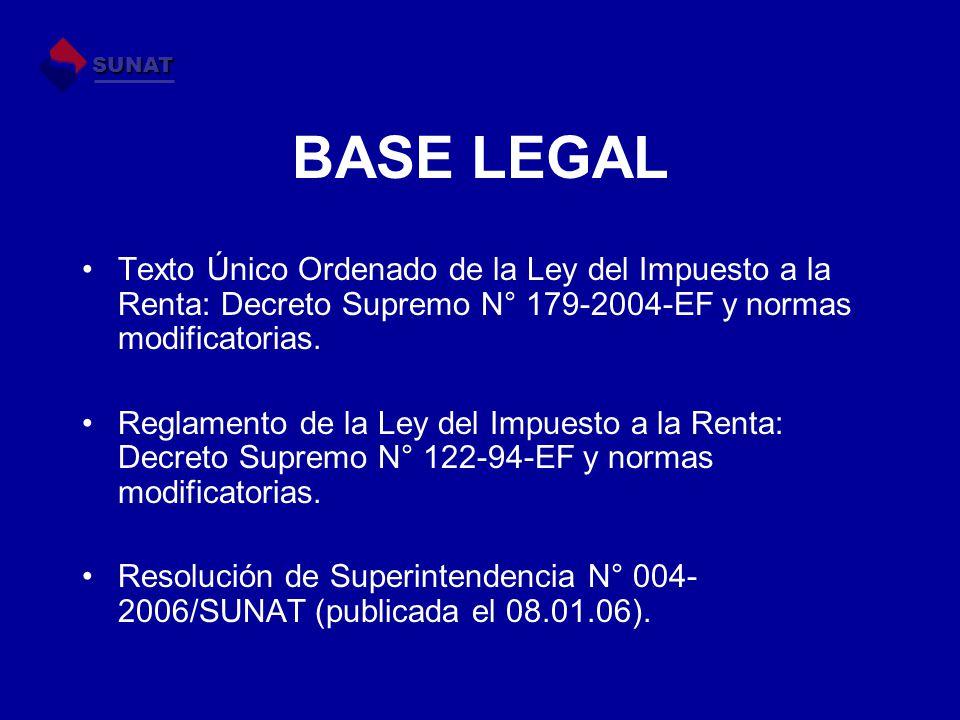 SUNAT BASE LEGAL. Texto Único Ordenado de la Ley del Impuesto a la Renta: Decreto Supremo N° 179-2004-EF y normas modificatorias.