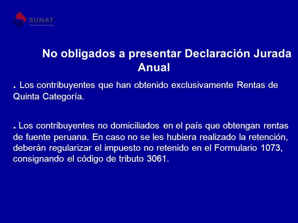 No obligados a presentar Declaración Jurada Anual