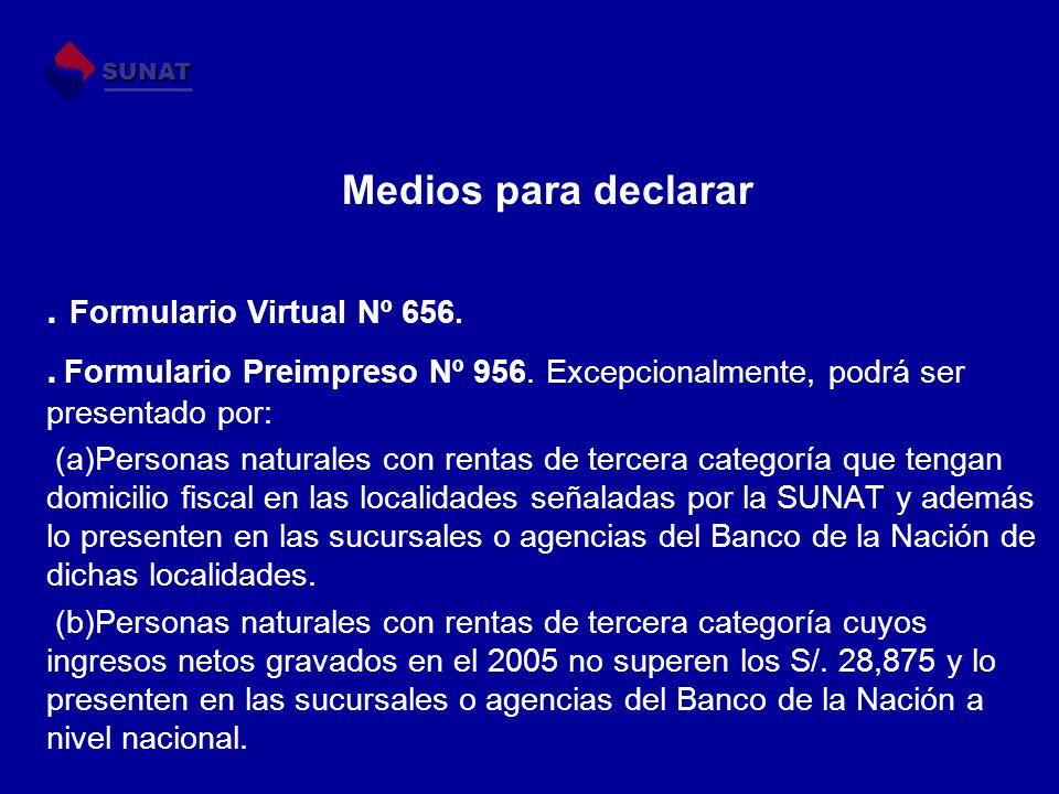 Medios para declarar . Formulario Virtual Nº 656.