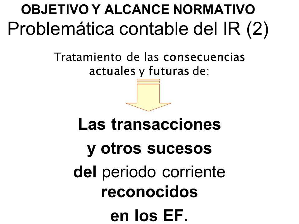 OBJETIVO Y ALCANCE NORMATIVO Problemática contable del IR (2)