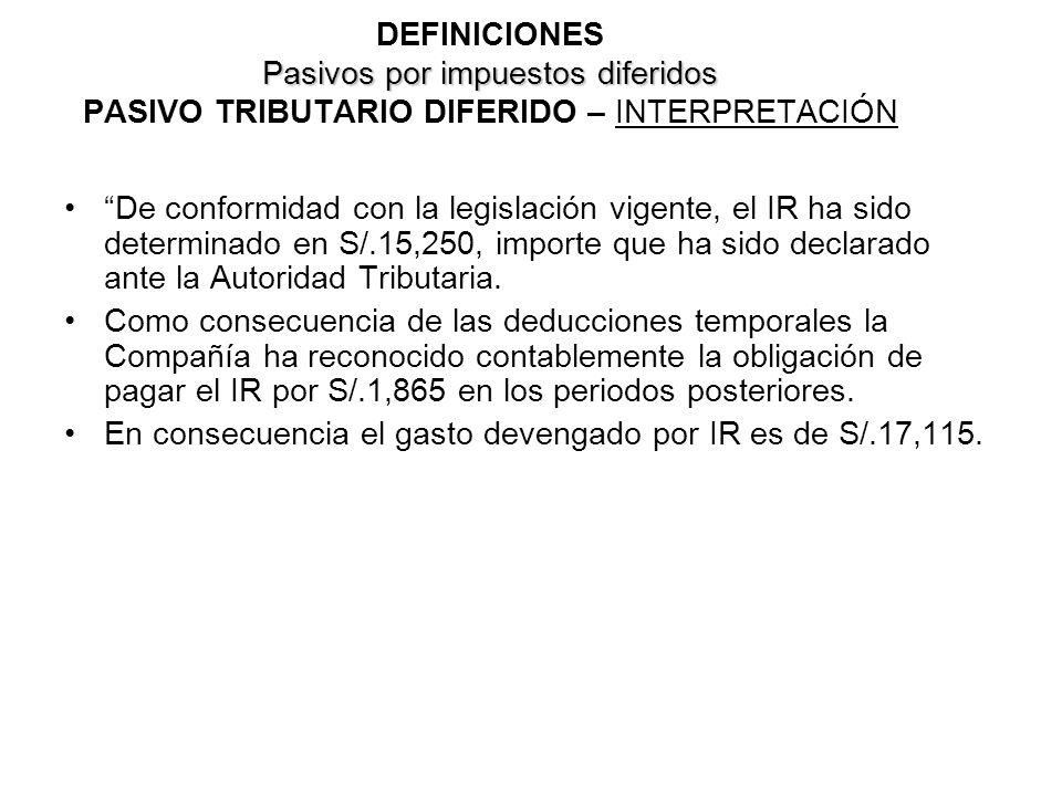 DEFINICIONES Pasivos por impuestos diferidos PASIVO TRIBUTARIO DIFERIDO – INTERPRETACIÓN