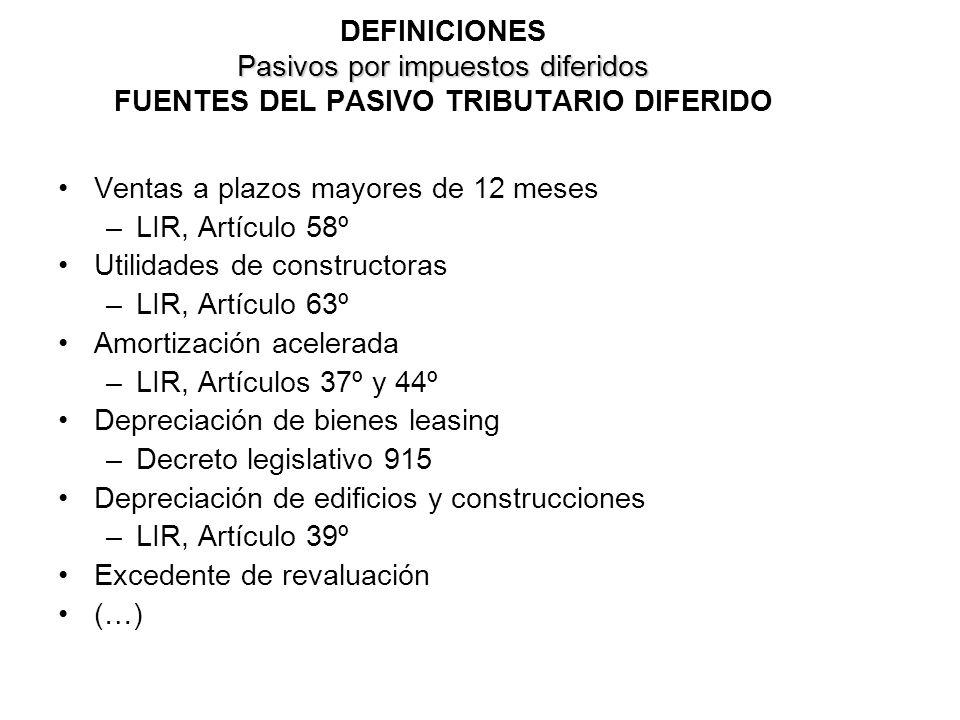 DEFINICIONES Pasivos por impuestos diferidos FUENTES DEL PASIVO TRIBUTARIO DIFERIDO