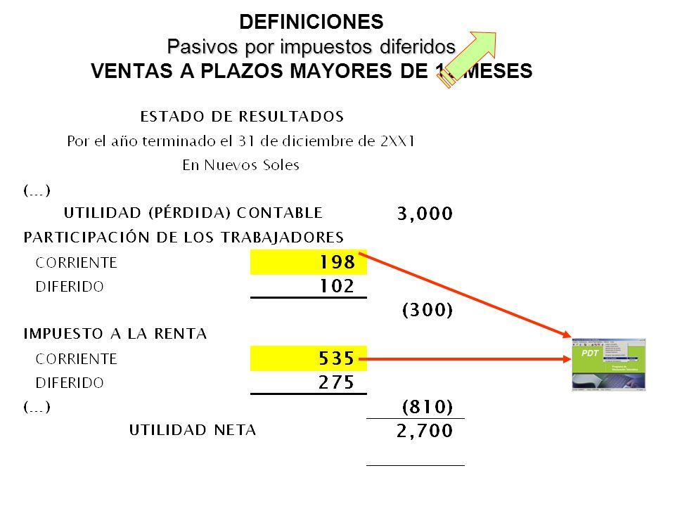 DEFINICIONES Pasivos por impuestos diferidos VENTAS A PLAZOS MAYORES DE 12 MESES