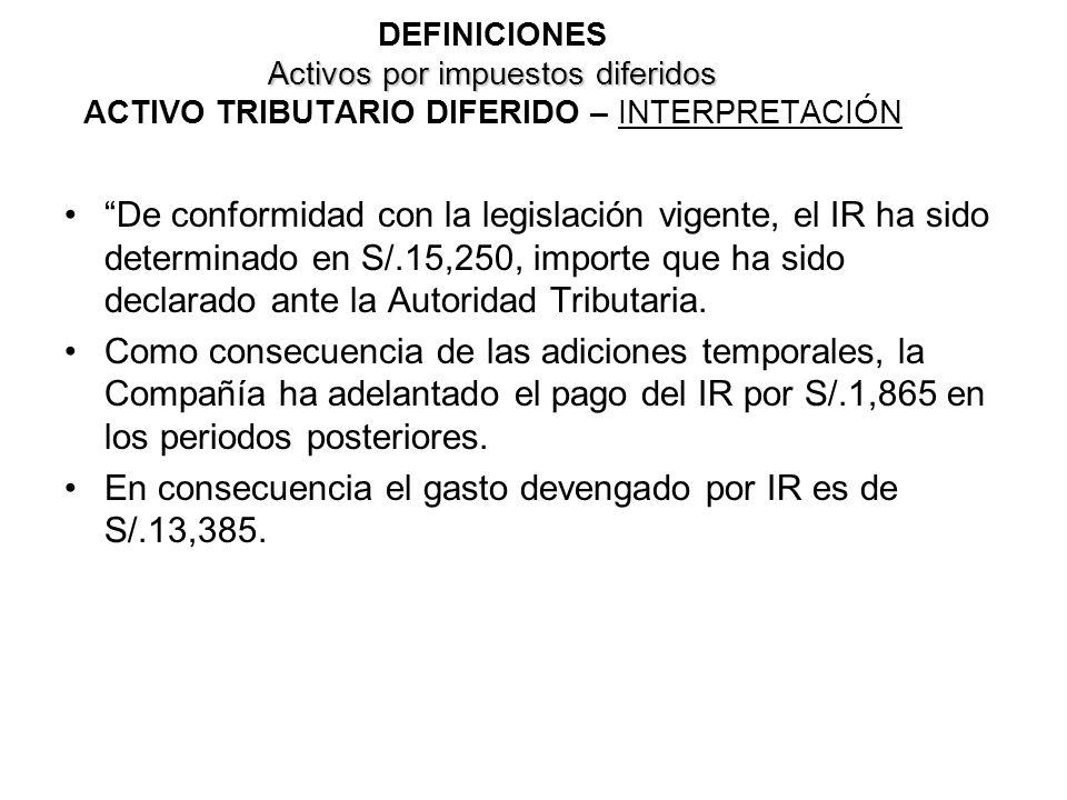 En consecuencia el gasto devengado por IR es de S/.13,385.