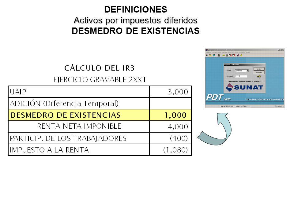 DEFINICIONES Activos por impuestos diferidos DESMEDRO DE EXISTENCIAS