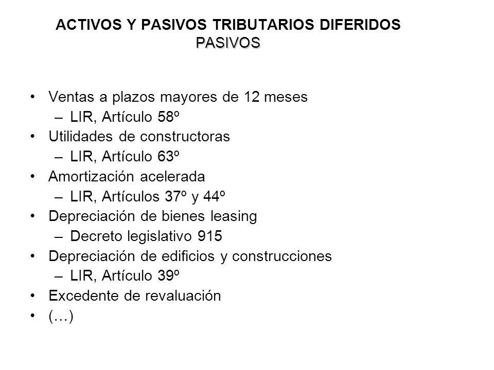 ACTIVOS Y PASIVOS TRIBUTARIOS DIFERIDOS PASIVOS