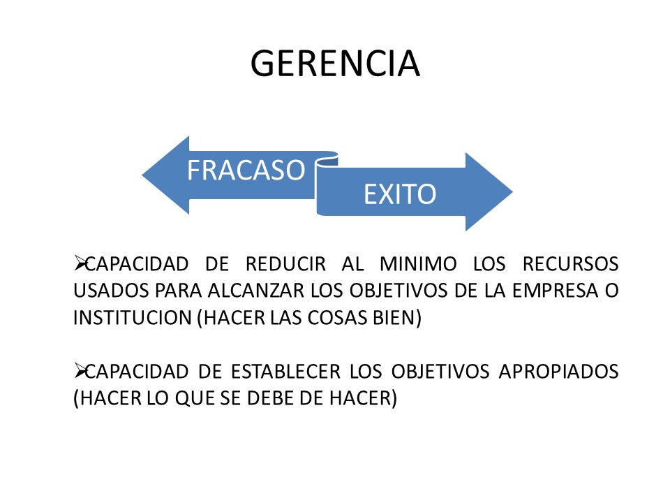 GERENCIA FRACASO. EXITO.