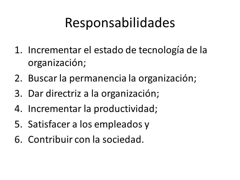 Responsabilidades Incrementar el estado de tecnología de la organización; Buscar la permanencia la organización;