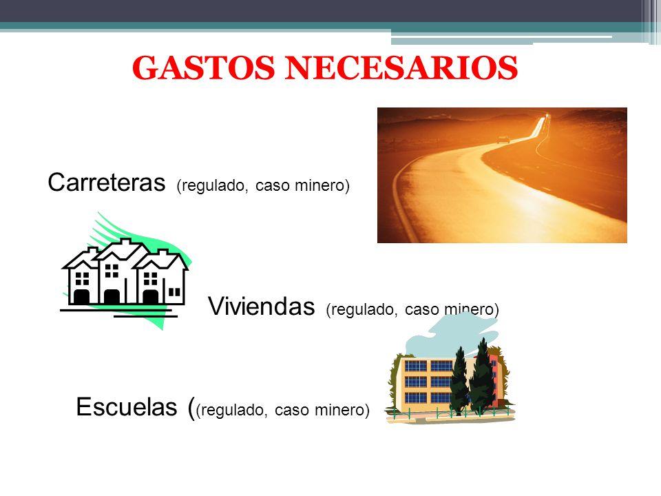 GASTOS NECESARIOS Carreteras (regulado, caso minero) Viviendas (regulado, caso minero) Escuelas ((regulado, caso minero)