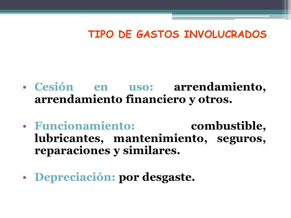 TIPO DE GASTOS INVOLUCRADOS