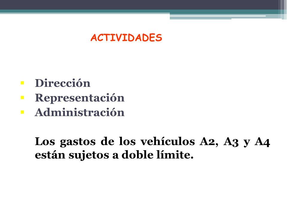Los gastos de los vehículos A2, A3 y A4 están sujetos a doble límite.