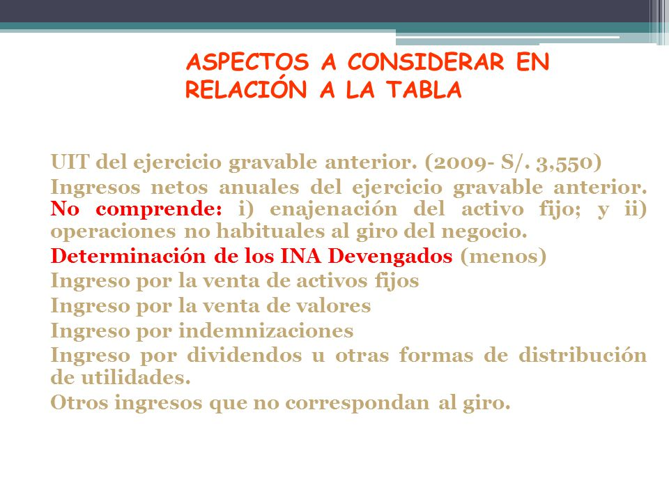 ASPECTOS A CONSIDERAR EN RELACIÓN A LA TABLA