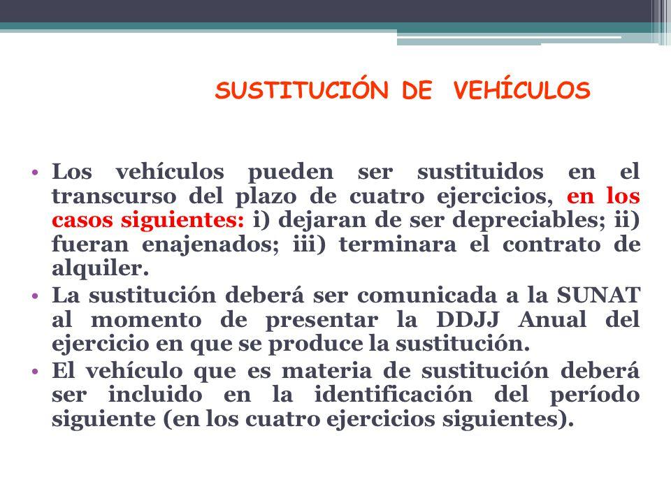 SUSTITUCIÓN DE VEHÍCULOS