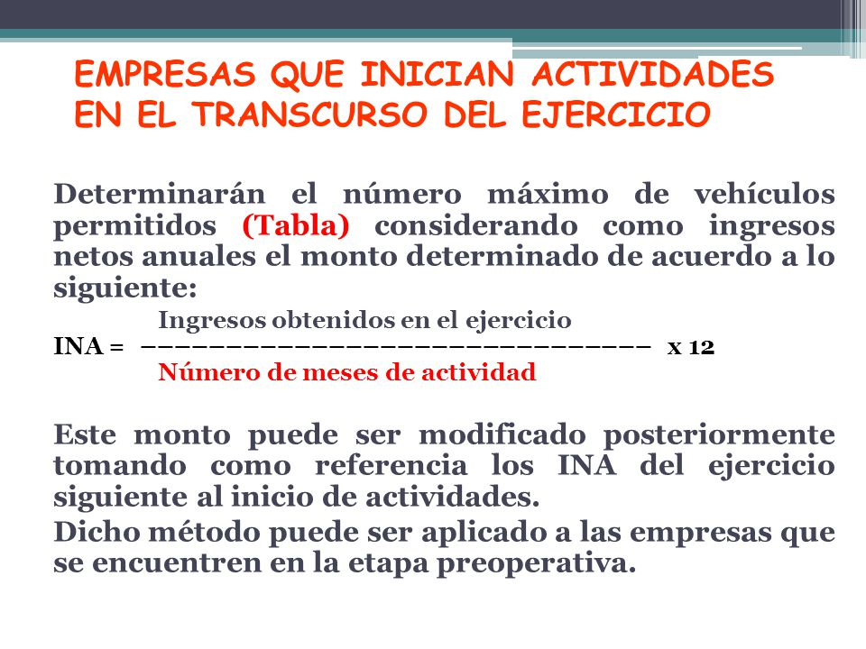 EMPRESAS QUE INICIAN ACTIVIDADES EN EL TRANSCURSO DEL EJERCICIO