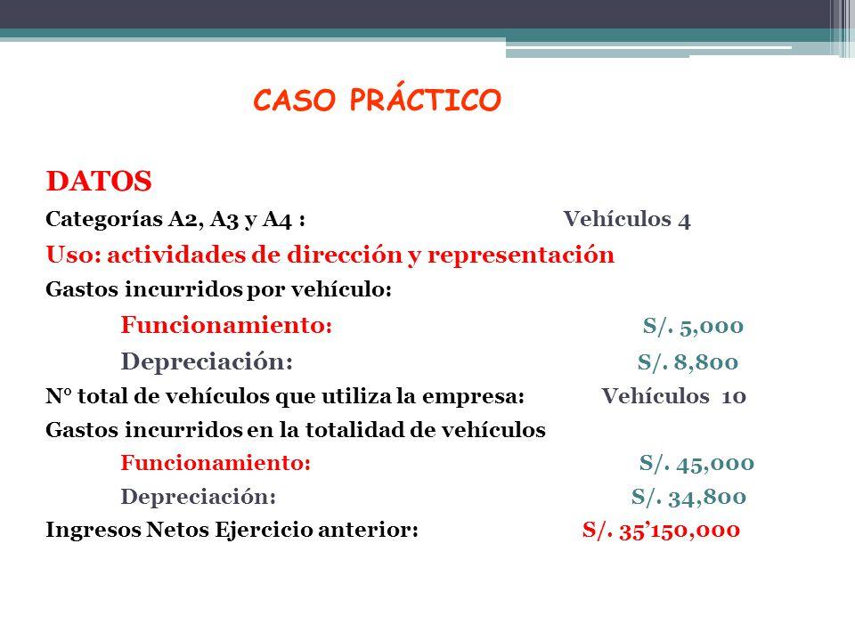 CASO PRÁCTICO DATOS Uso: actividades de dirección y representación