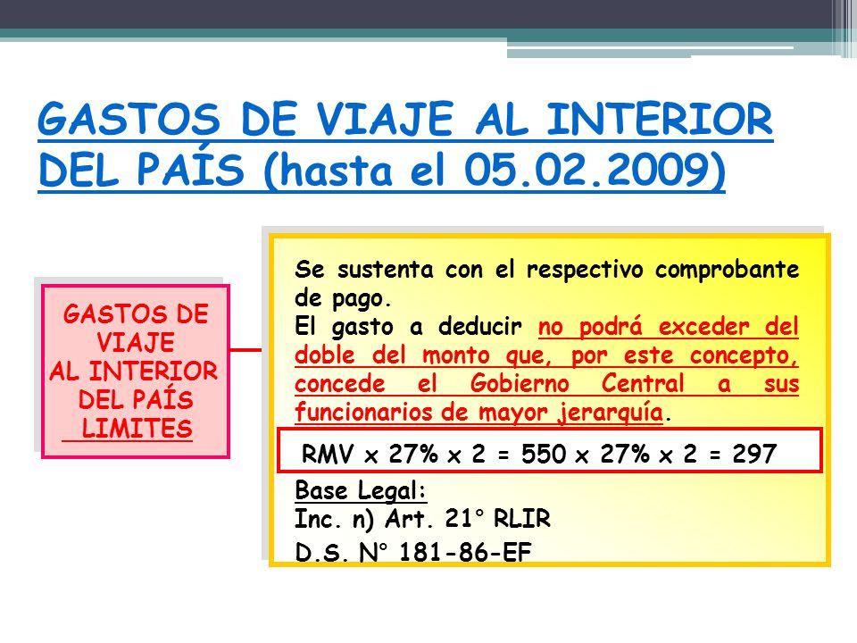 GASTOS DE VIAJE AL INTERIOR DEL PAÍS (hasta el 05.02.2009)